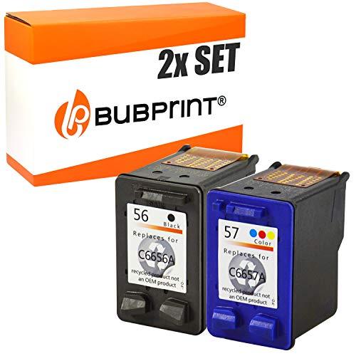 Bubprint  kompatible Druckerpatronen als Ersatz für HP 56 57 für Deskjet 5150 5550 5650 Officejet 4215 5510 Photosmart 7260 7660 7760 7960, 2er-Pack (57 56 Für Set Hp)