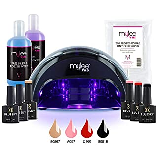 Mylee Complete Professional Gel Nail Polish LED Lamp Kit, 4x Bluesky Colours, Top & Base Coat, Mylee PRO Salon Series Convex Curing® LED Lamp, Prep & Wipe, Gel Remover and more (Kit with Black Lamp)