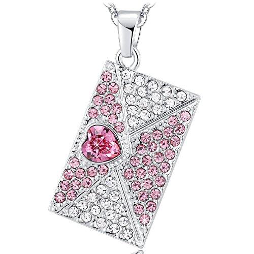 Kette Damen Anhänger Kristall Pink Halskette Herz Liebesbrief Schmuck geschenke für frauen Geburtstag jahrestag Valentinstag Weihnachten Muttertag