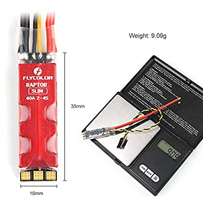 Guokukey 4pcs Flycolor Raptor Slim 40A ESC BLHeli_S 2-4S LiPo Electric Speed Controller Support Dshot150/300/600 For QAV 170-330mm RC Drone FPV Racing Multi Rotor