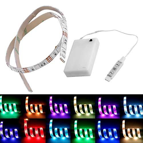 Lorenlli Luce impermeabile di hobby del mestiere della luce di striscia di 50CM RGB LED a pile 50CM con la scatola della batteria