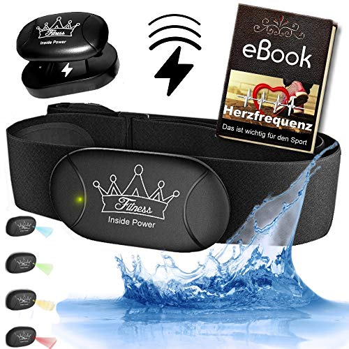 Heartbeat 3 Inside Power Aufladbarer Akku Bluetooth & ANT+ IP 67 Wasserdicht Gratis eBook - kompatibel zu Garmin Wahoo Polar RUNTASTIC iPhone Android Brustgurt Herzfrequenzmesser (Heartbeat 3)