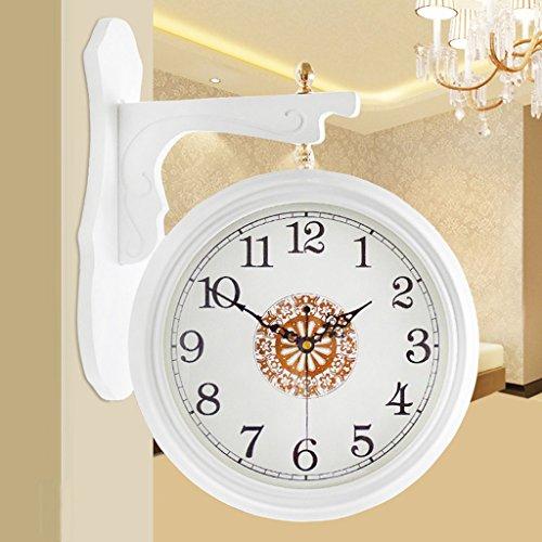 The harvest season Double-face Horloge Bois Horloge murale Montre mur Minimaliste Salon de style européen horloge murale Temps Rétro personnalisé horloges et montres à quartz modernes