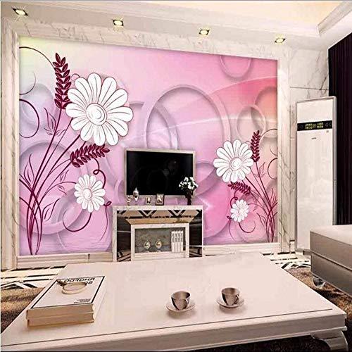 Ytdzsw Benutzerdefinierte Große Fresko 3D Stereo Kreis Rosa Blume Hintergrund Nonwovens Super Grüne Tapete-300X210Cm