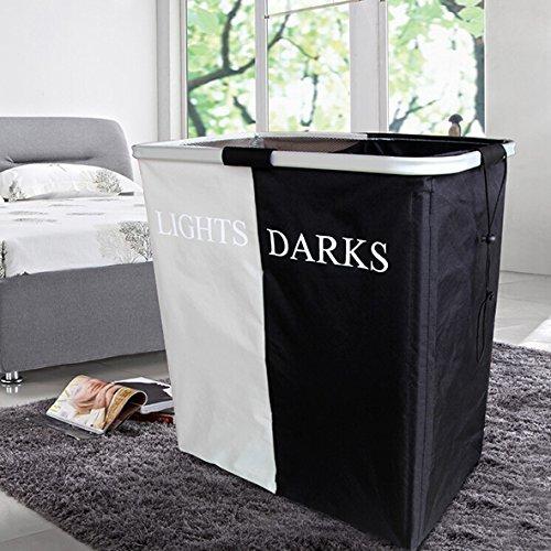 panier linge avec 3 compartiments de tri sale v tement de lavage panier pliable tissu. Black Bedroom Furniture Sets. Home Design Ideas