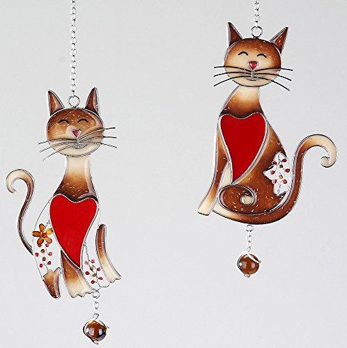 2er SET Tiffany Deko Hänger, Fensterdeko KATZEN H. 24cm rot braun Formano