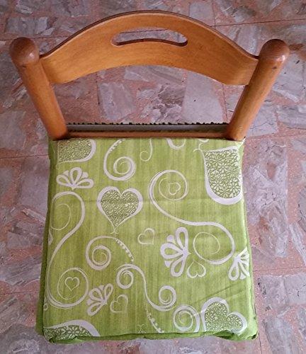 No 6galettes carrés universels sfoderabili avec zip shabby chic Cœurs et fleurs Vert