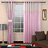 Pink Curtains for Door 2 Piece Polyester...