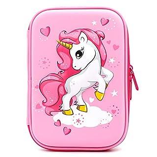 Trousse à crayons en relief licorne volante avec compartiments - Grande boîte de fournitures scolaires pour filles et enfants rose clair