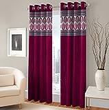 Exporthub Solid Fabric Fancy Designer Dark Pink Color Eyelet Window Curtains (2 Piece) - 4 x 5 Feet, EHSPR527_54