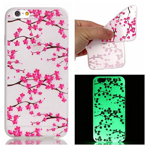 Coque pour iPhone 5 / 5S / SE Noctilucent Fluorescence Bouton Gold TPU Transparent Gel Silicone Extra Fine Slim Creative Soft Haute Qualité Case, GOCDLJ iPhone 5 / 5S / SE Couvrir Coverture Cas Sac Mo Fleur de Prunier