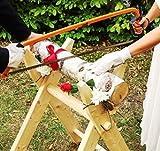 Hochzeitsideen Hochzeits-Baumstamm sägen als Komplett Set inkl. Säge-Bock, Bügelsäge, Stamm aus Holz, Handschuhe