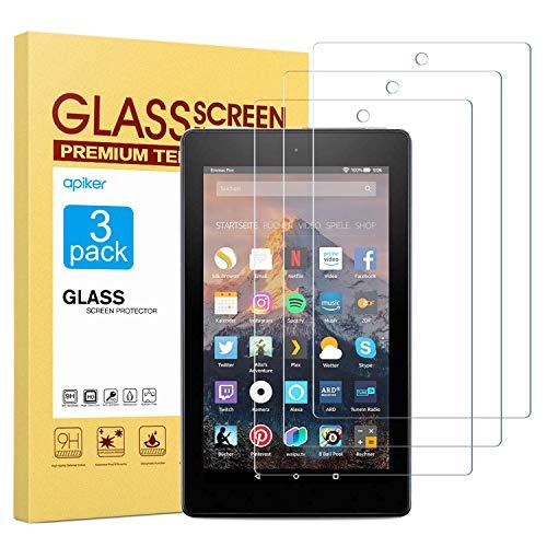 apiker [3 Packs Protector Pantalla Tablet Compatible con Fire 7 2019/2017/2016 7.0 Pulgadas, Cristal Templado Tablet Premium [9H Dureza] [Alta Definición]