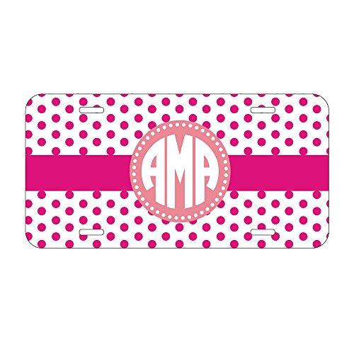 Personalized Monogrammed chevron Grey ORNAMENTAL targa auto tag Custom rosa iniziali per anteriore di auto Colour 4