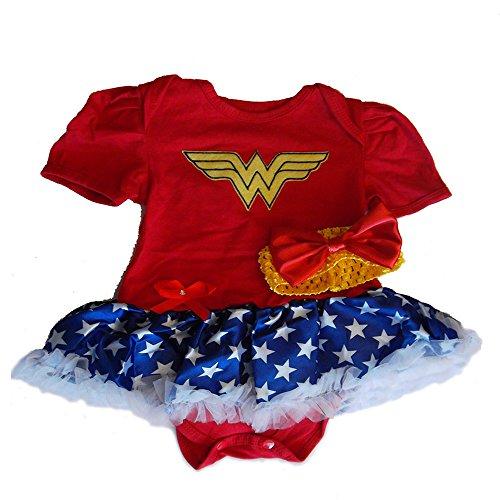 Unknown Baby Mädchen (0-24 Monate) Ballon Kleid Red Yellow Blue White 0-12 Monate Gr. 74, Red Yellow Blue (Outfit Mädchen Von Wonder Woman)