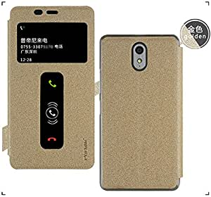 GoRogue Window Slim Luxury Flip Cover with Convertible Back Stand for Lenovo Vibe P1M (Gold)