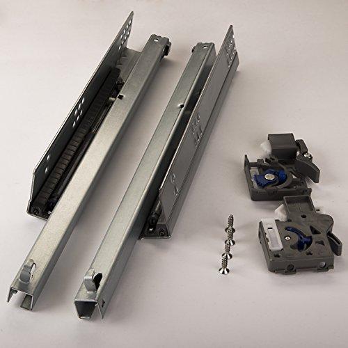 1 Paar SO-TECH® PartSlide Schubladenauszüge 400 mm (Teilauszug) für Holzschublade mit Dämpfung