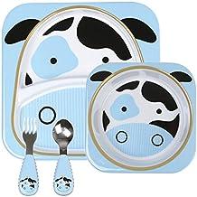 Xing Lin Cubertería Para Niños Baby Baby Cartoon Vajilla, Cuenco, Tazón, Tenedor Y Cuchara Palo,Un Traje -- Una Vaca