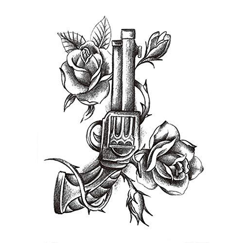 Wfoyznz autoadesivo del tatuaggio temporaneo del tatuaggio temporaneo autoadesivi del tatuaggio del fiore pieno di arte del tatuaggio delle rose nere di disegno del grande della bambola 8 piece