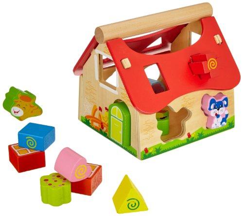 Eichhorn 100002098 - Holz Steckhaus, 15-teilig, 18x17,5x18cm, mit 12 Steck-Bausteinen Haus Spielzeug Für Jungen