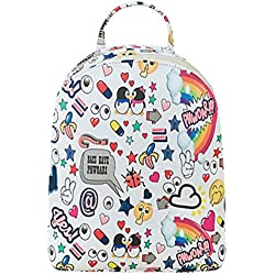 Rrimin New Fashion Summer Women PU Leather Floral Printed Backpack Girls School Bag (White)