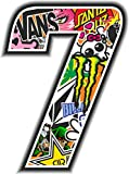 Quattroerre - Pegatina del número 7, 10 x 7,5 cm, referencia 13357, colección Sticker Bomb