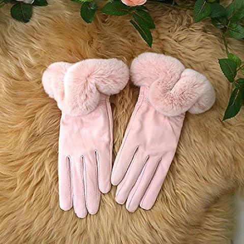 KHSKX Toccare tenere in caldo in autunno e in inverno la versione coreana di rex Pelo Coniglio Montone signore i guanti in pelle dei guanti in pelliccia