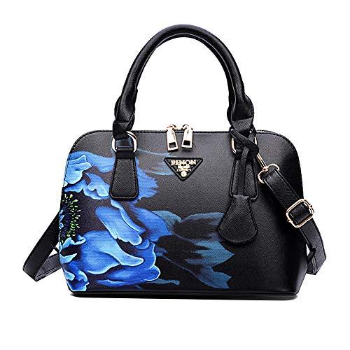 Greeniris Damen Handtaschen Kunstleder Vintage Süß Umhängetasche Hobo Blumen Schultertasche Totes für Damen Chinesischer Stil Schwarz -