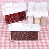 Lanlan Set von 6Gewürzglas Aufbewahrung Würze Boxen Küche Gewürz Container mit Tablett für Salz Zucker Essig