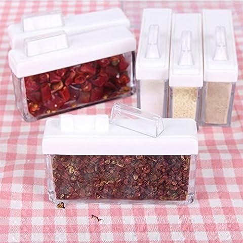 Lugii Cube Pot à épices Lot de 6boîtes de rangement cuisine de cuisine à condiments de conservation avec plateau pour sel Sucre épices