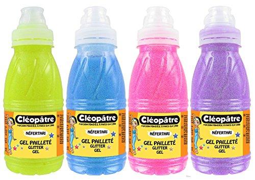 Cléopâtre - GP250X4NEO - GLITTER-GEL-Set, transparentes Gel mit bunte Glitter, Neon-Töne, 4 x 250 ml - Neon Ton