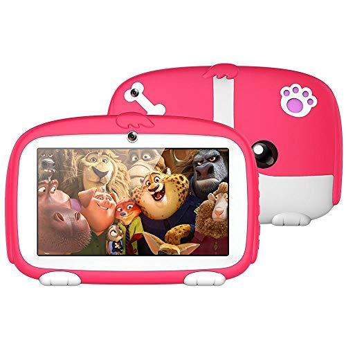 MOGOI Tableta Portátil para Niños de 7 'HD, Almohadilla de Aprendizaje para Niños con Funda de Silicona a Prueba de Niños (Quad Core, 8GB, Playstore para Youtube, IWAWA)