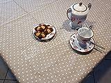 R.P. Tovaglia Cucina Soggiorno Micro Cuoricini Bianchi Provenzale Shabby Chic cm 140x140, 4 Persone - Made in Italy