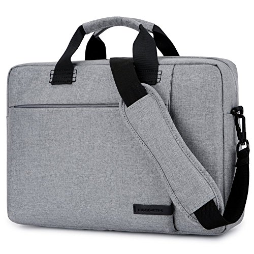 Laptop Tasche 15,6 Zoll, BRINCH stilvoll Nylon Laptop Messenger Bag Umhängetasche Schultertasche Aktentasche für 15-15,6 Zoll Laptop / Notebook / MacBook / Ultrabook / Chromebook Computers,Grau (Top-loading-tasche Laptop)