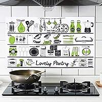 Byeel Kitchen Backsplash Wallpaper, Lovely Pantry Aluminum Foil Stickers Kitchen Stickers Self Adhesive Kitchen Oil Proof Waterproof Kitchen Stove Sticker (MulticolOrange,)