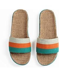 mhgao de las mujeres zapatillas de interior casa suave antideslizante zapato de lino, 3, Large
