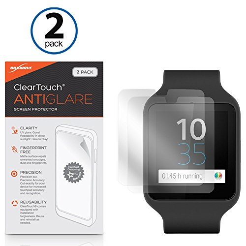 Sony-Smartwatch-3-swr50-Displayschutzfolie-BoxWave-ClearTouch-AntiGlare-2er-Pack-Anti-Fingerprint-Matt-Folie-Schutzfolie-fr-Sony-Smartwatch-3-swr50