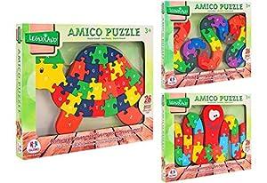 GLOBO- Wooden Puzzle 26 Piezas Letters/Numbers 3Asstd (38261), (1)