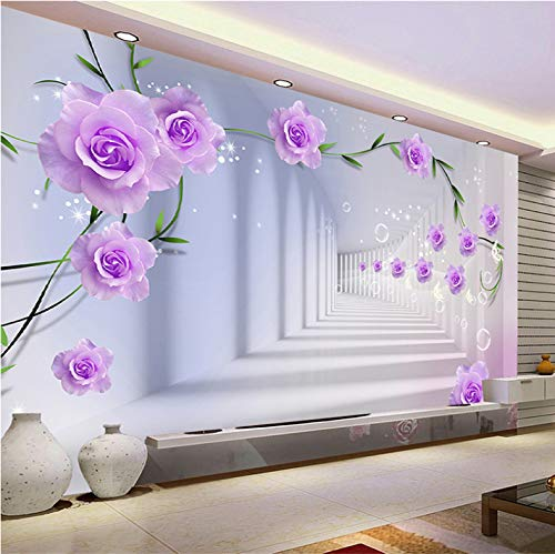 VVBIHUAING 3D Wand Dekorationen Wandbilder Aufkleber Tapete Lila Romantische Rose Wohnzimmer Schlafzimmer Hintergrund Home Dekoration Kunst Kinder Küche (W) 300x(H) 210cm