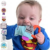 Gummee Glove Multi-Award Winning Baby Teething Mitten Premium Quality 100% Cotton Detachable Teether Ring and Travel Bag - 3 to 6 Months - Turquoise - Undroppable - Soothe Babies painful gums naturally