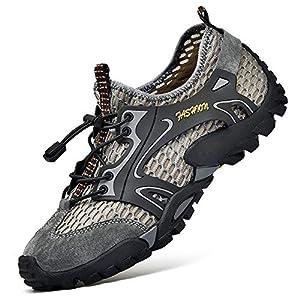 Uomo Scarpe da Trekking Scarpe da Spiaggia acqua Sandali Sneakers Sportivi All'aperto Scarpe Pescatore Piscina Acqua Mare Escursionismo Leggero Scarpa (44 EU, Grigio)