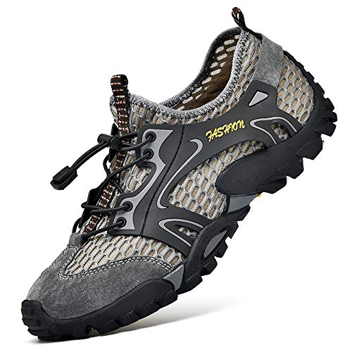 Sandali Sneakers Sportivi Estivi Uomo Trekking Scarpe da Spiaggia All'aperto Pescatore Piscina Acqua Mare Escursionismo Leggero (42 EU, Grigio)