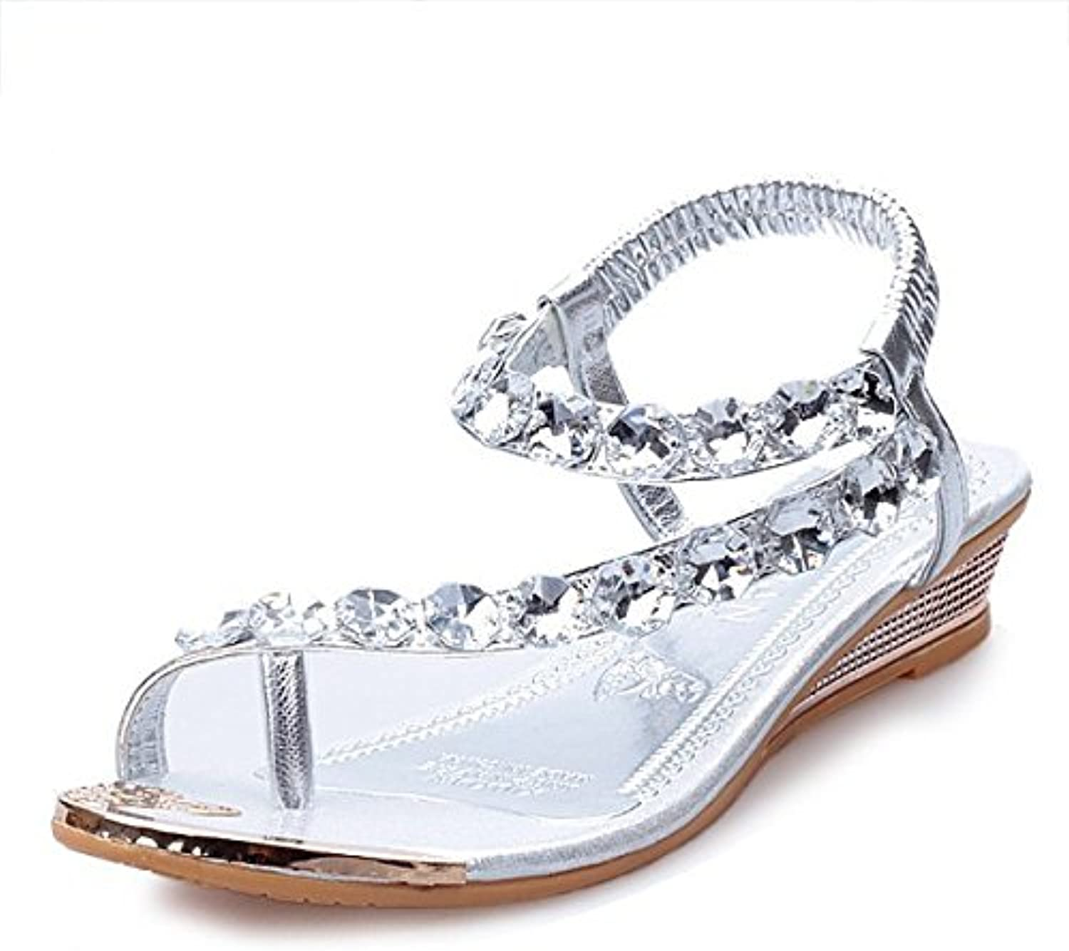 Female sandals and ladies' sandals fashion toe pinch toe,silvery,Thirty-nine