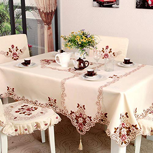 Originaltree rettangolo pastorale ricamato floreale tovaglia tovaglia tovaglia home decor ricamo pastorale panno tabella bandiera tavolo da tè in tessuto, poliestere, 60 * 60cm