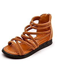 2f8f5995c Sandalias Niños Verano Niñas Zapatos Niños Sandalias romanas Planos  Cremallera Posterior Flock Tobillo Cut-Out