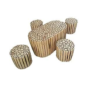 CRUZ INTERNATIONAL Shahi Natural Log Slices Coffee Table With Four Stools