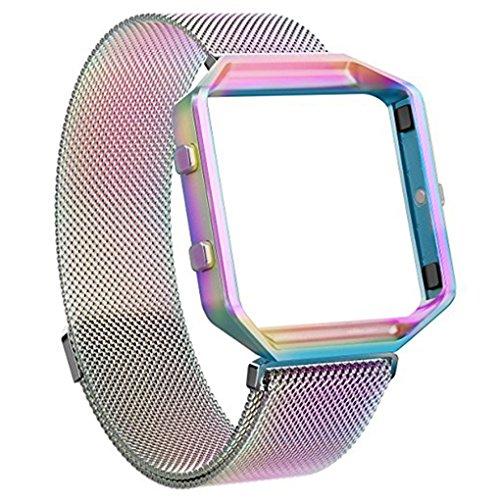 Providethebest Edelstahl-Armband Ersatz Blacelet Kette Intelligente magnetische Schleife Uhr-Gurt-B¨¹Gel mit Rahmen f¨¹r Fitbit Sortierte Farbe