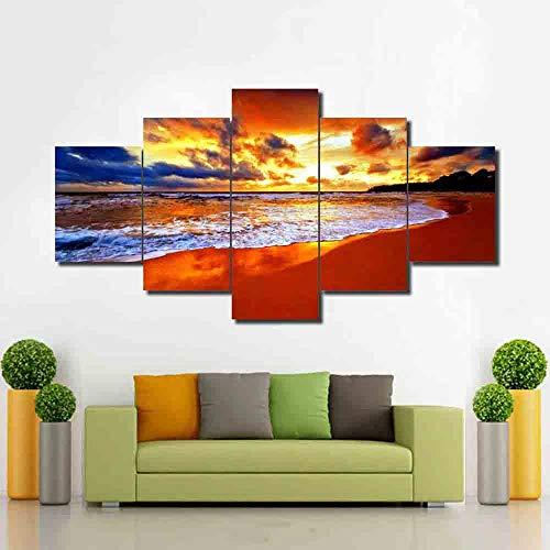 Dekor, Gerahmte Kunst (HD Print Moderne Sunshine Shore Seaside Landschaftsbilder Kunst gerahmte Dekor Wohnzimmer Home Wand Leinwand Bild Modular Poster-Rahmen)