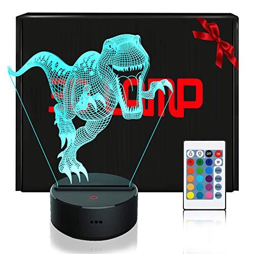 LED Lámpara de Mesa 3D Dinosaurio con Control Remoto Sensor Tacto, QiLiTd...