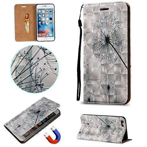 Coque iPhone 6 / 6S Portefeuille Etui Housse [Miroir Cosmétique] Amovible Cuir PU Premium Portable Pochette de Protection Case Cover pour iPhone 6 6s (4.7 Pouces) Sunroyal® 3 en 1 Multifonction Porte  A-Pissenlit
